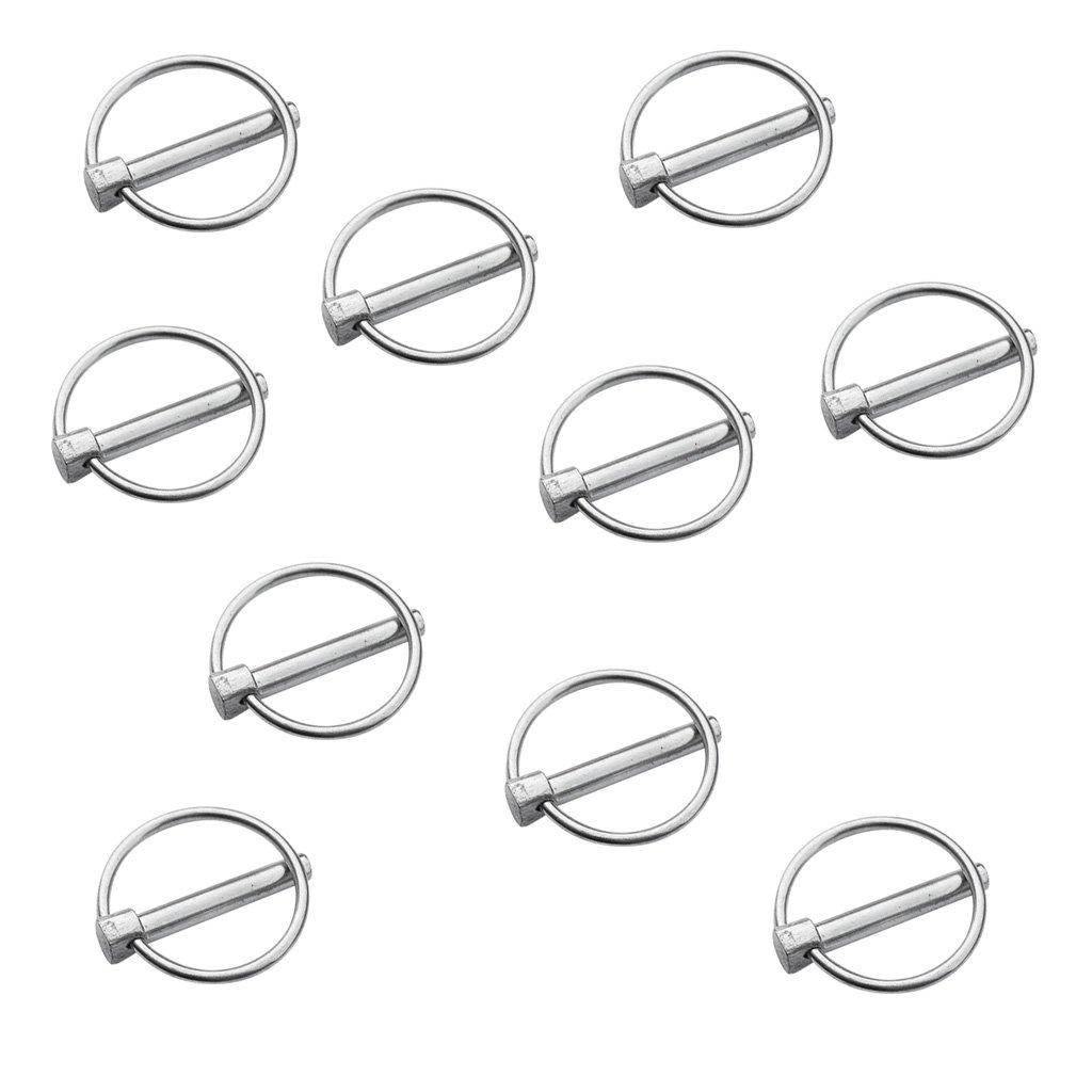 MagiDeal 10 Pieces Durable Aluminum Kayak Canoe Dinghy Marine Boat Trolley Trailer Lynch Pin Linch Linchpin Clip Buckle Ring Large/Small - Small