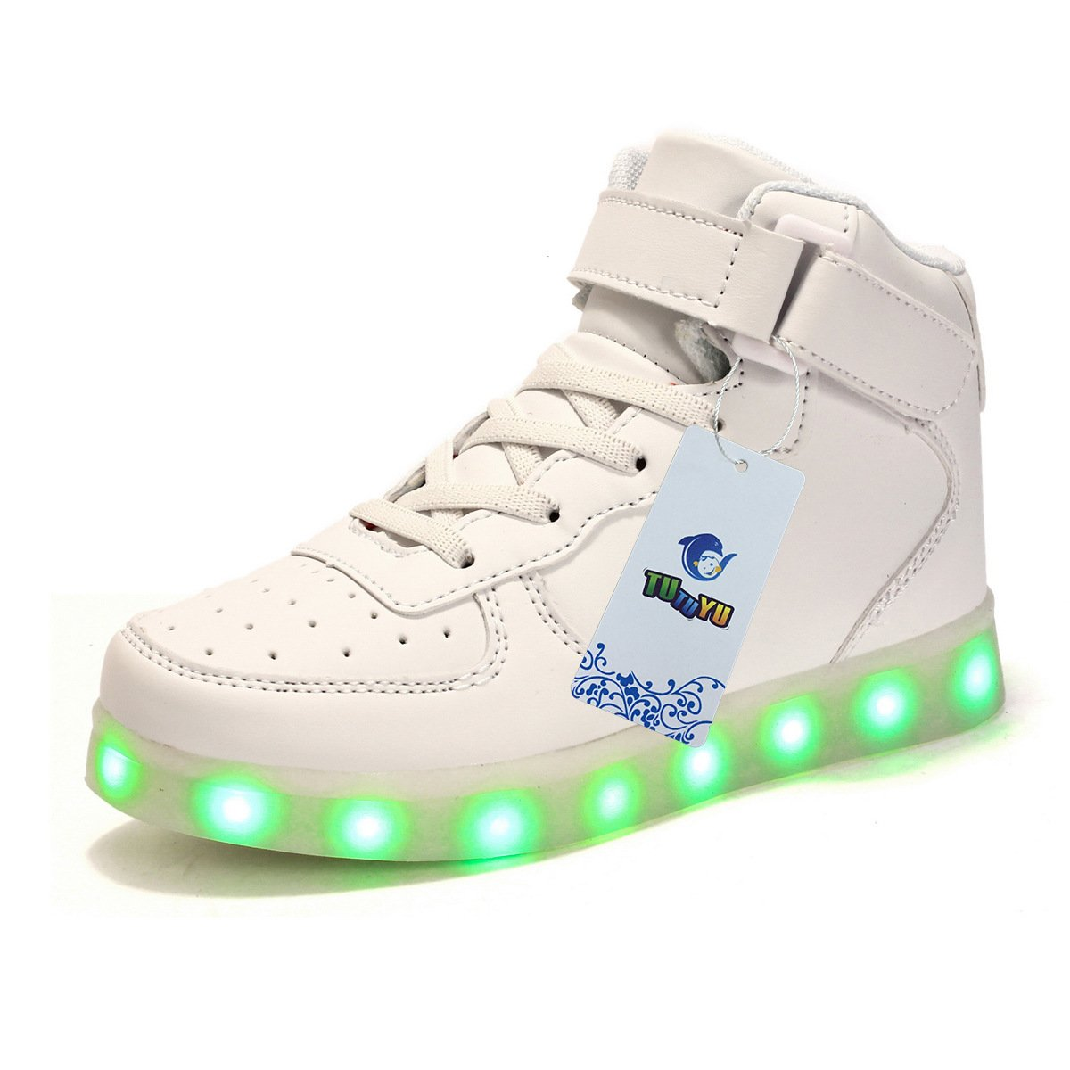 TUTUYU Boys and Grils 11 Colors LED Light Up Shoes High Top Fashion Flashing Sneakers