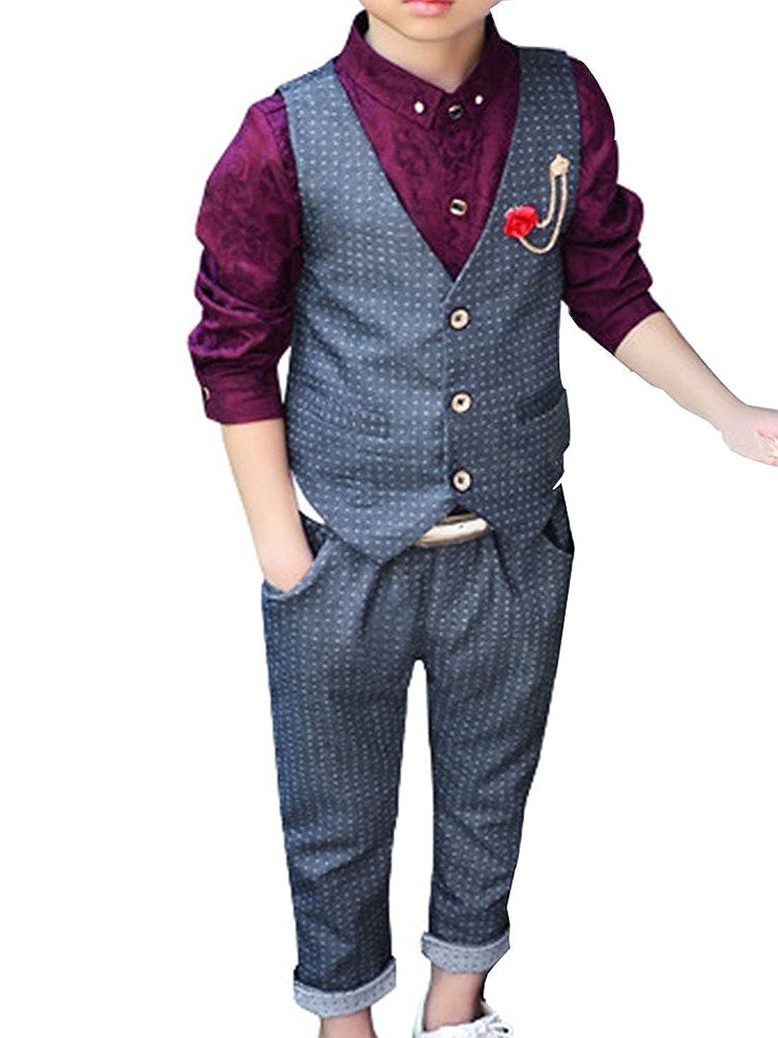 Quge Vestito Abito Completo Bambini Ragazzo Gliet Pantaloni Vestitino Completino Elegante