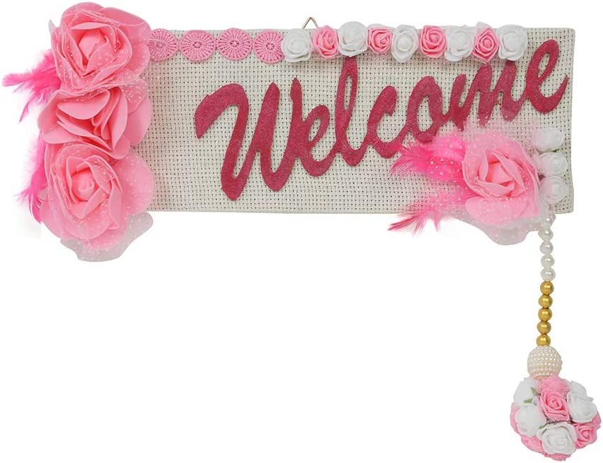 """Christmas Decoration Welcome Sign board Artificial Pink White Rose flower Wall Decor Hanging Garland for Main front Door Indoor Outdoor Patio Garden Yard Sign Porch Decoration Size:-15""""X5"""" Inchs"""