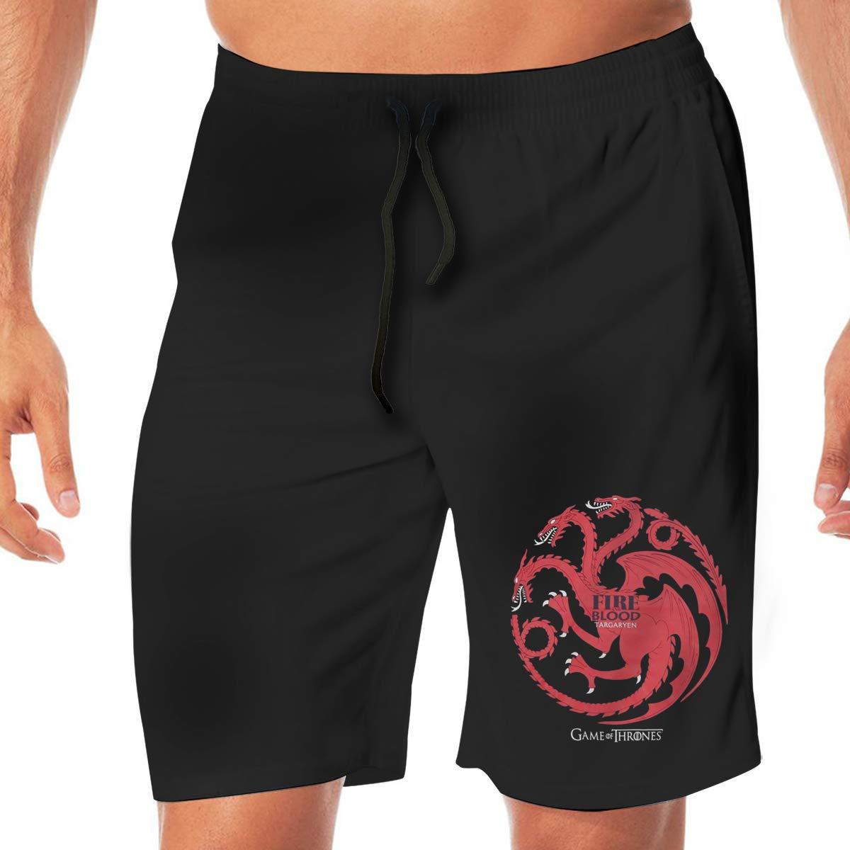 Design Mens Game of Thrones Targaryen Dragon Summer Boardshorts No Mesh Lining