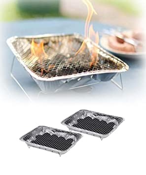 Juego 2 barbacoa desechable Kit completo 31 x 25 x 5 cm - Grill USA y desechables para Picnic, Camping, o playa: Amazon.es: Jardín