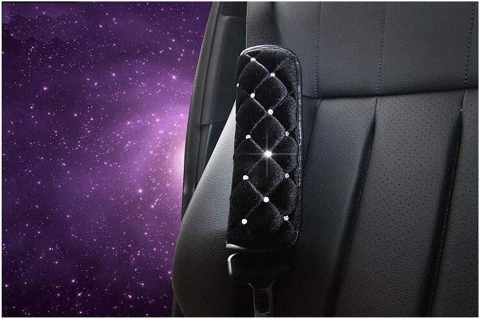 Siyibb 2Pcs Plush Car Seat Belt Shoulder Pad with Crystal Diamond Pink