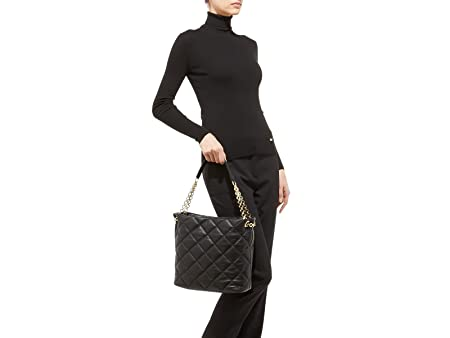 95406cd8ac Amazon.com  Salvatore Ferragamo Women s Ginette Large Quilted Nappa Vara Bag  (Black)  PORTMANTOS