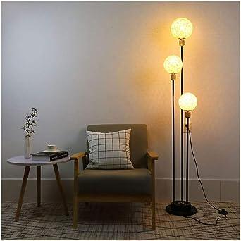 Lámpara de pie E27 Lámpara de pie redondo de cristal rota Pantalla ...