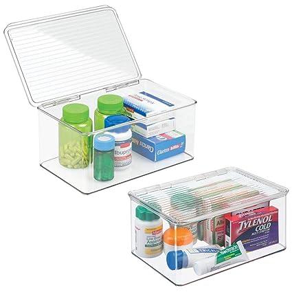 mDesign Organizador de Maquillaje con Tapa abatible - Cajonera plástico Multiusos Ideal para Guardar Sus vitaminas, medicamentos, cosméticos o cremas ...