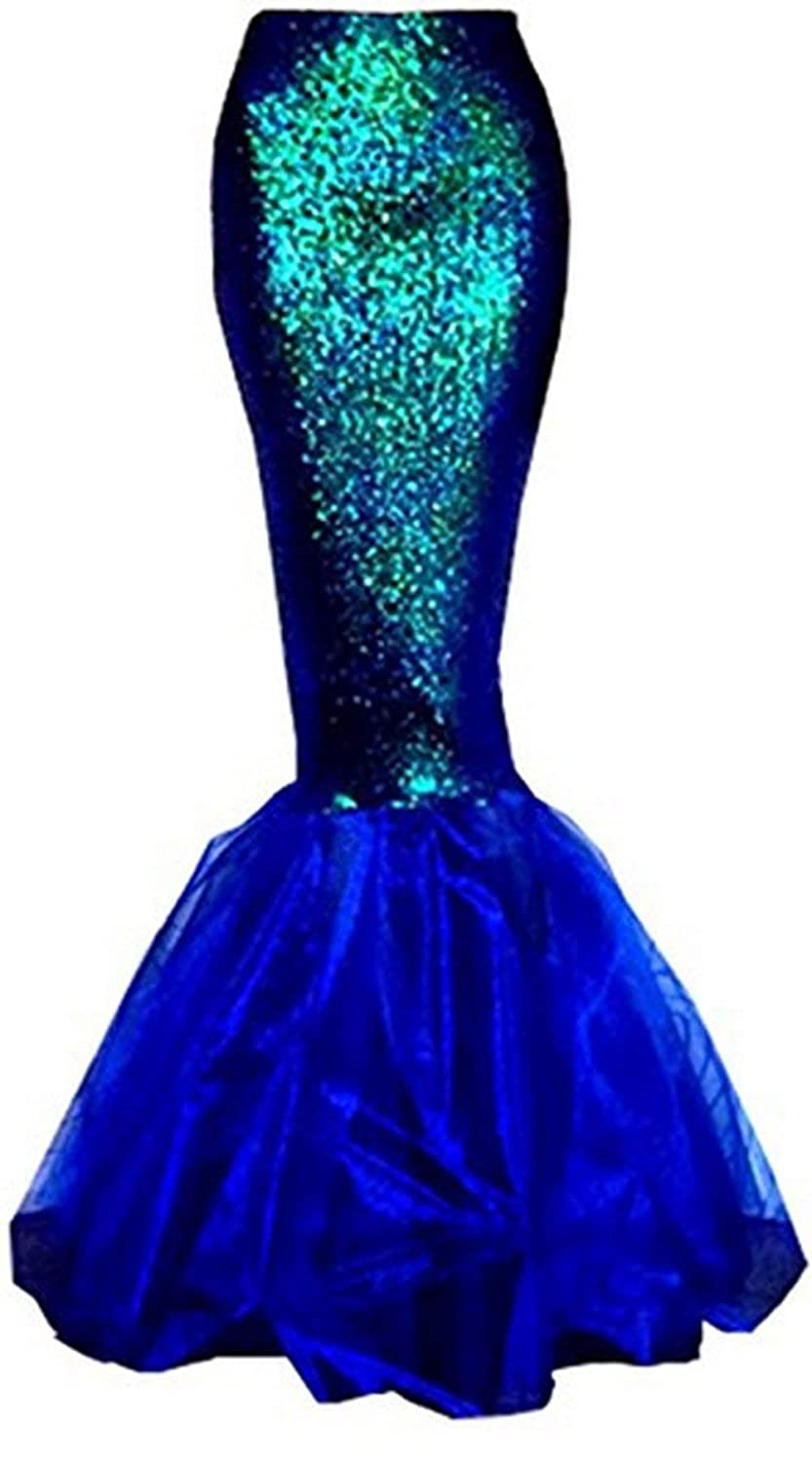 Women's Blue Sequins Asymmetric Mesh Panel Mermaid Costume Skirt - DeluxeAdultCostumes.com