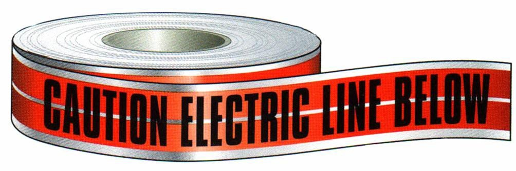 Morris Products 69030 Detectable Tape, Printed With Caution Buried Electric Line Below, Red, 3'' Width, 1000ft Length