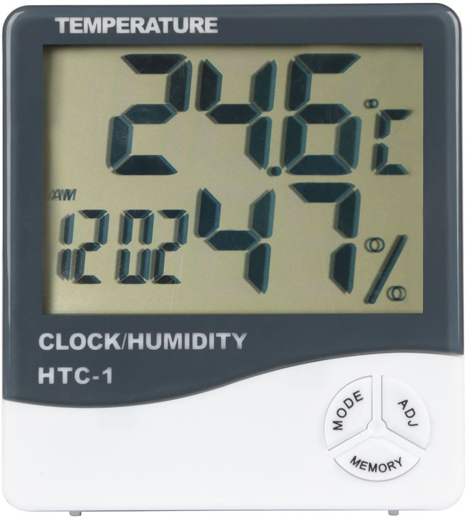 GPCT [2-In-1] Digital [Thermometer/Hygrometer] Temperature Gauge Meter W/ Alarm Clock. Indoor/Outdoor Humidity Monitor + LCD Display In Celsius/Fahrenheit. Great for Home/Living Room/Office- White by GPCT