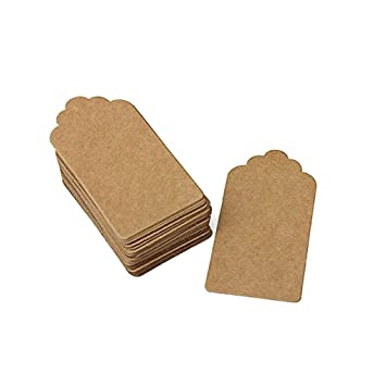 pack 100 rustic 40mmx70mm scalloped kraft paper card blank brown tag
