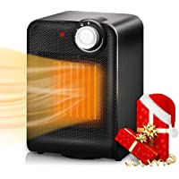 Trustech Portable Ceramic Space Heater, 1500W with Adjustable Thermostat, Tip-Over & Overheat Protection, Fast Heating Oscillating Desk Floor Fan Office Home Indoor Use, Black