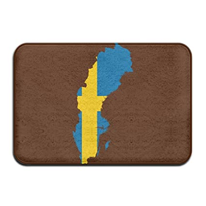Amazoncom Sverige Flag Map Non Slip Indooroutdoor Door Mat Rug