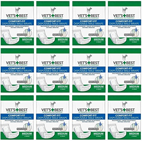 Veterinarian's Best Comfort-fit 12 packs of 12 wraps (144 total wraps) Disposable Male Wrap,Medium by Vet's Best