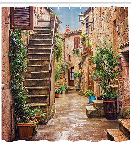 Ambesonne Italian Shower Curtain, View of Old Mediterranean Street with Stone Rock Houses in Italian City Rural Print, Cloth Fabric Bathroom Decor Set with Hooks, 70