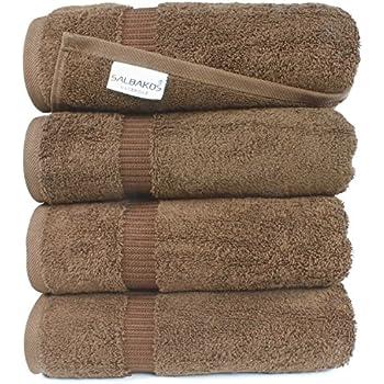 SALBAKOS Luxury Hotel & Spa Turkish Cotton 4-Piece Eco-Friendly Bath Towel Set 27 x 54 Inch, Chocolate