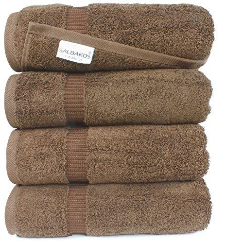 SALBAKOS Luxury Hotel & Spa Turkish Cotton 4-Piece Eco-Friendly Bath Towel Set 27 x 54 Inch, (10 Piece Chocolate)