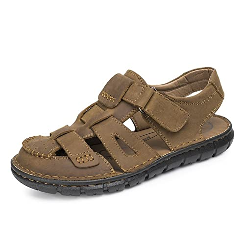 GLSHI Mens Sandals Shoes 2018 New Leather Beach Shoes Outdoor Breathable Walking Shoes For Casual Brown Khaki