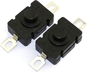 RuiLing 10pcs Self-Lock Push Button Switch KAN-28 for Flashlight SMD Type ON-Off Mini Switch (Flat Pin with Hole)
