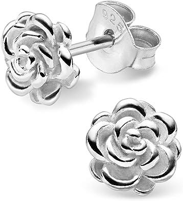 Boucles d/'oreilles Rose Fleur Argent 925