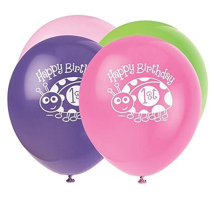 Unique Party - Globos de Látex - 30 cm - Fiesta de Primer Cumpleaños de Mariquita