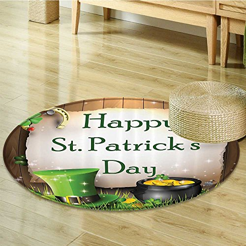 ay Gift Holiday for Celebration Party Decorations in Irish Shamrock Leaf The Lucky Clovers Gold Horseshoe Coin Traditional Bath Decor Hat Fabric Circle carpet -Diameter 150cm(59