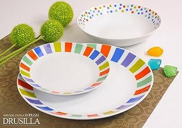 offerta servizio piatti moderni da tavola colorati in ceramica di design completo per 6 persone da
