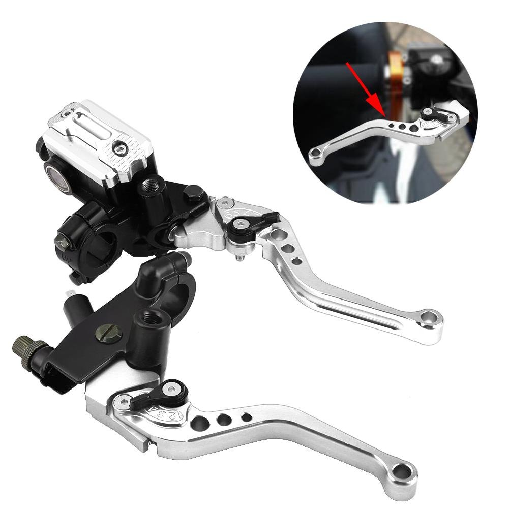 Blue Acouto Motorcycle Modification 7//8 22mm Universal Hydraulic Brake + Clutch Lever Left and Right Pair Metal Oil Cup Suitable for Most Motorcycles