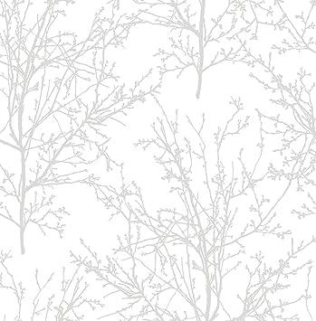 Nextwall Tree Branches Peel And Stick Wallpaper Pearl Gray Amazon Com
