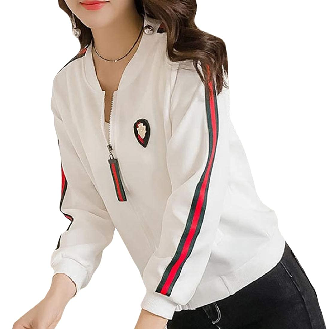 Comaba Womens Pocket Stand Collar Zip Splicing Skinny Stripes Outwear Jacket