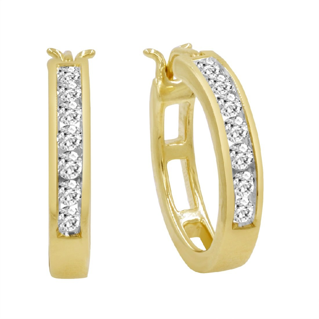 10K Yellow Gold Diamond Hoop Earrings (1/2ct tw) AGS Certified by Amanda Rose Collection (Image #1)