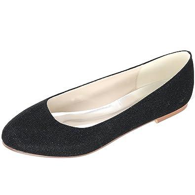 6a7d608f7021a Loslandifen Women's Glitter Flats Elegant Round Toe Wedding Ballet Bridal  Shoes(9872-01C35,