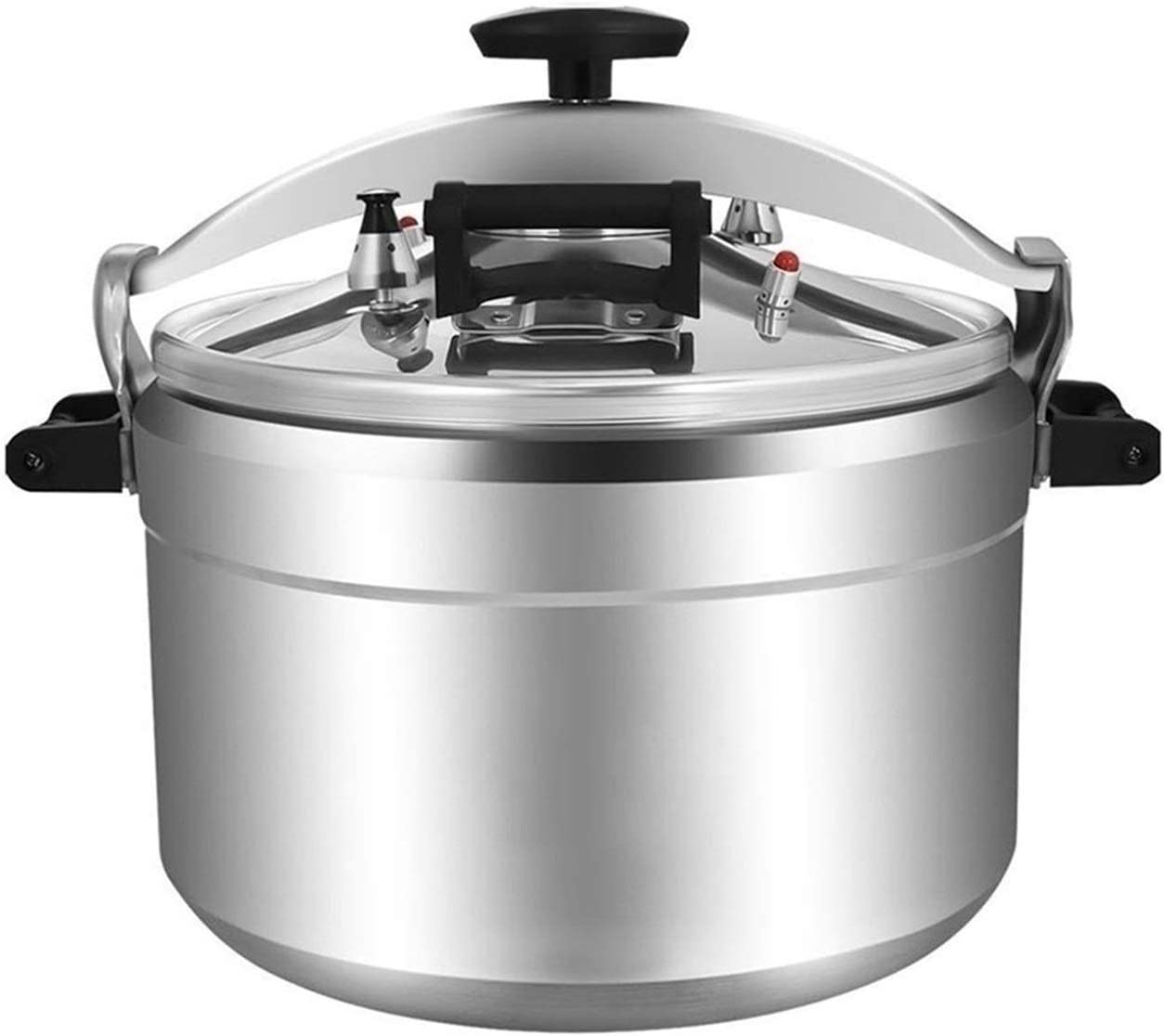 Commercial pressure cooker aluminum household multi-function explosion-proof pressure cooker non-stick cooker gas stove induction cooker soup pot 9L~60L (Color : Silver, Size : 60L)