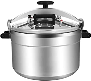 Commercial pressure cooker aluminum household multi-function explosion-proof pressure cooker non-stick cooker gas stove induction cooker soup pot 9L~60L (Color : Silver, Size : 25L)