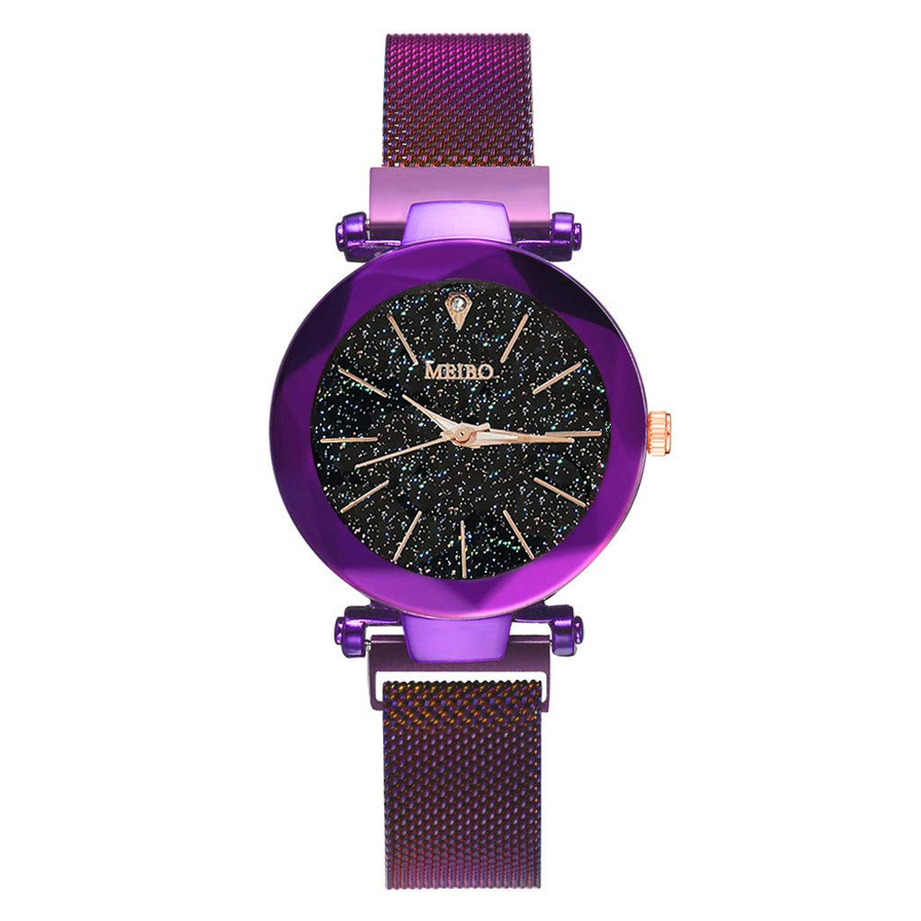 BarthylomoWomens Watches Stainless Steel Band Starry Sky Quartz Analog Wrist Watch with Magnet Buckle