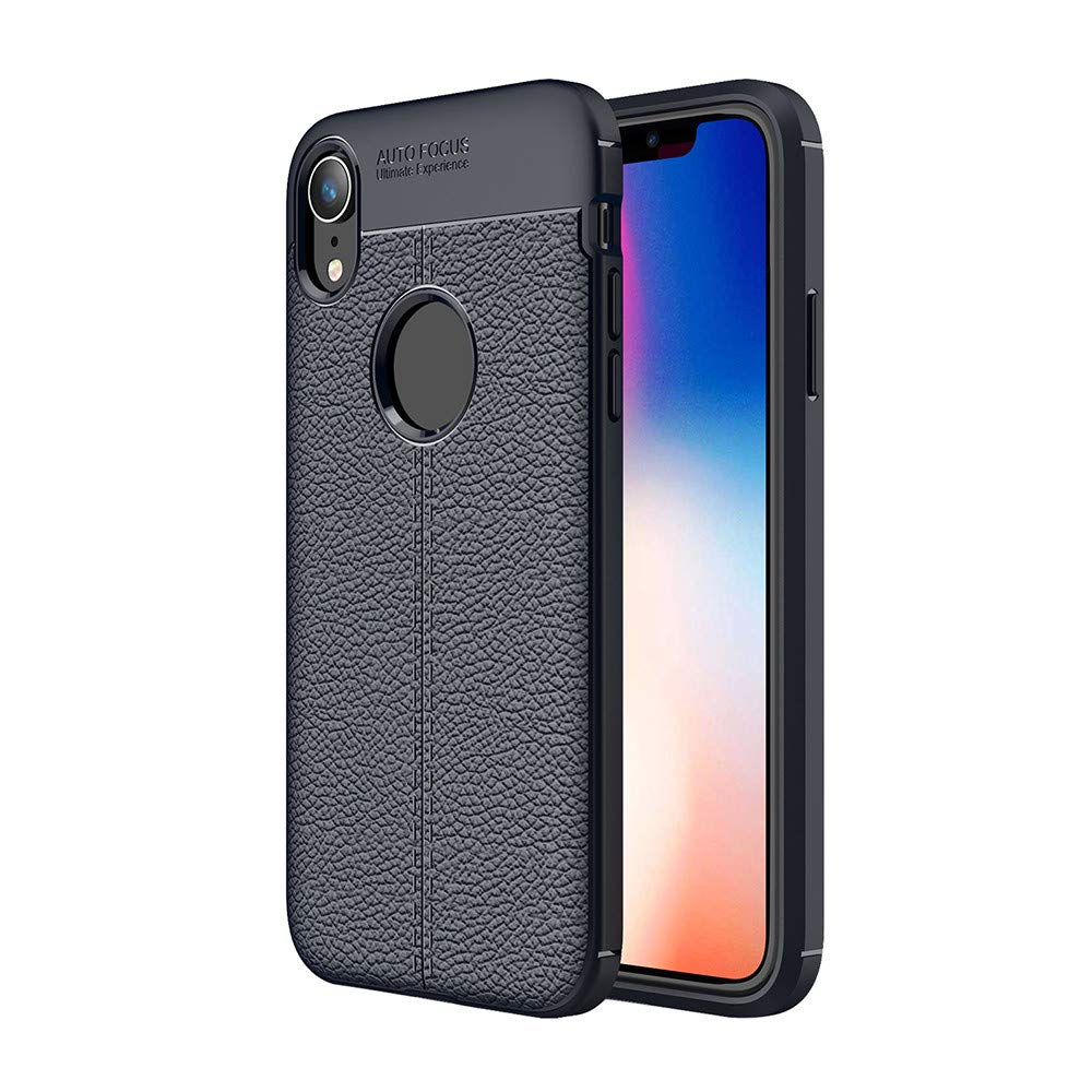 Kasien iPhone XS/iPhone XR/iPhone XS Max Case, Luxury Lychee Texture Shell Flexible TPU Protective Case Cover (Blue, For iPhone XR)