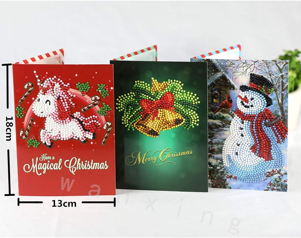 Xmas Card DIY 5D Diamond Painting Kits New Year Greeting Card Embroidery Kits