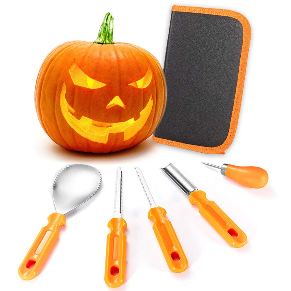 Halloween Pumpkin Carving Kit 5 Piece Professional Heavy Duty Stainless Steel Pumpkin Carving Sets Manual Pumpkin Carving Tools with Zipper Bag Engraving Paper Crafts,Easily Sculpting by Jiayue