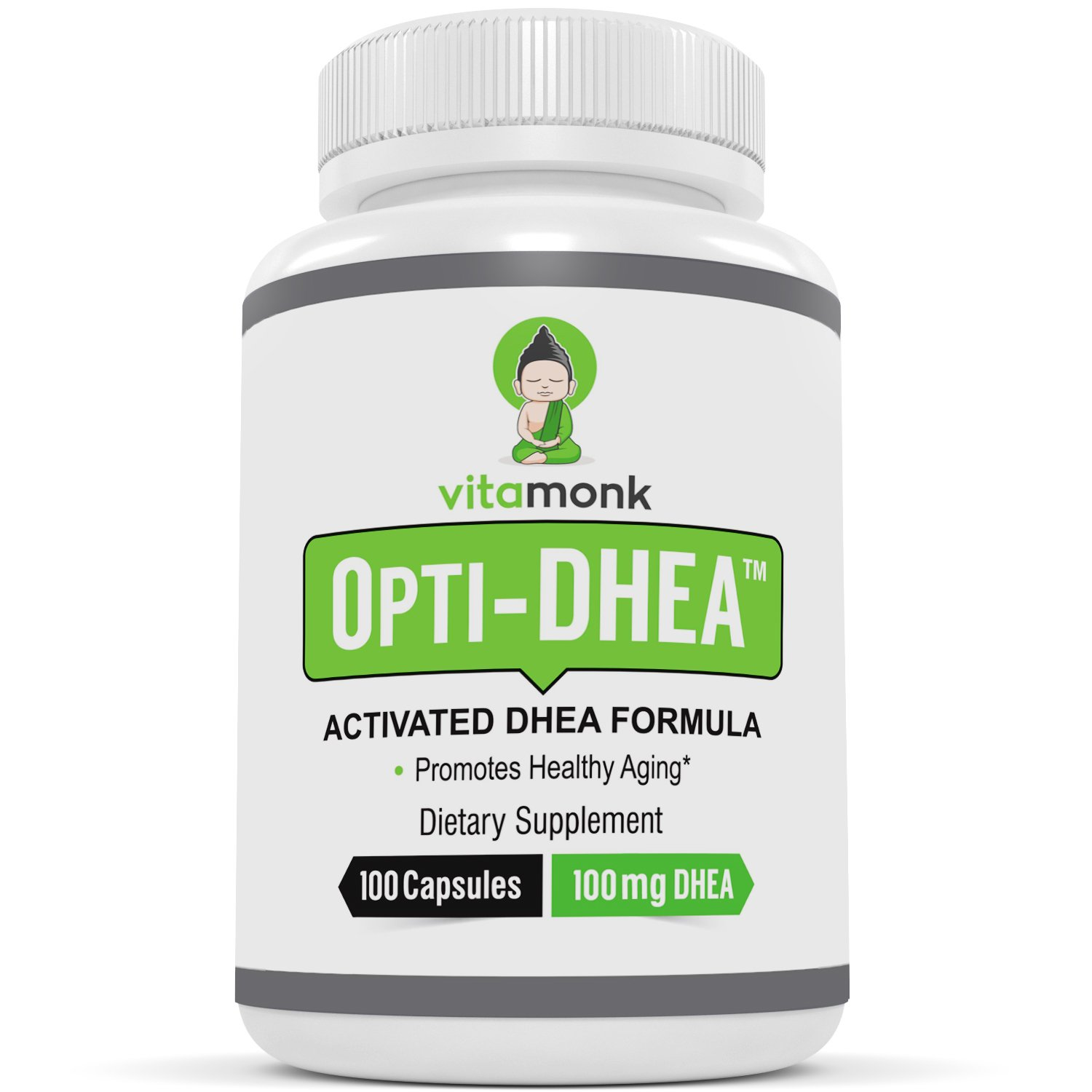 OptiDHEA™ 100mg Bio-Enhanced DHEA Supplement - Giving You The Safest and Highest Absorption DHEA 100 Milligram Capsules On The Market - Micronized Health Supplements By Vitamonk - For Men and Women