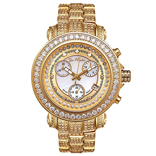 Joe Rodeo JRO11 Rio Diamond Watch, Yellow Dial with Gold Paved Band
