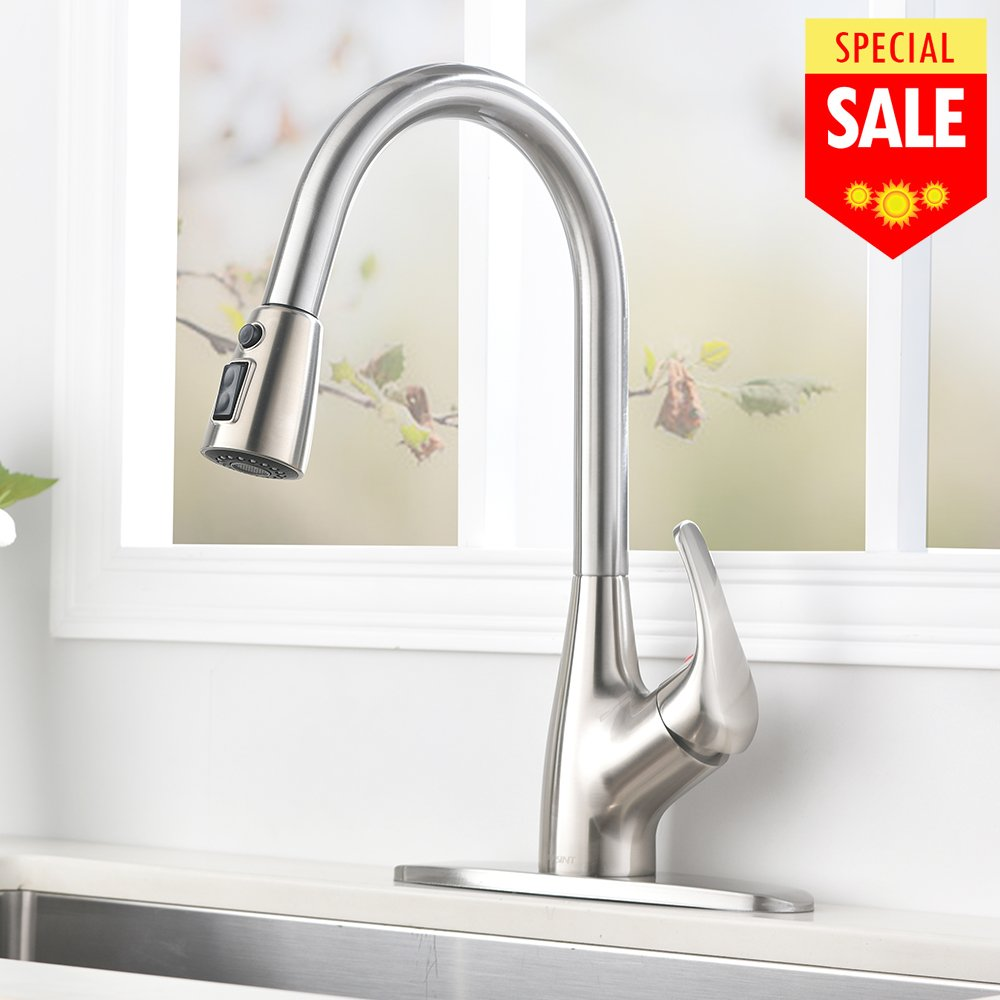 VESLA HOME Commercial Stainless Steel Single Handle Single Lever Pull-Down Pull Out Sprayer Kitchen Sink Faucet, Brushed Nickel Kitchen Faucets