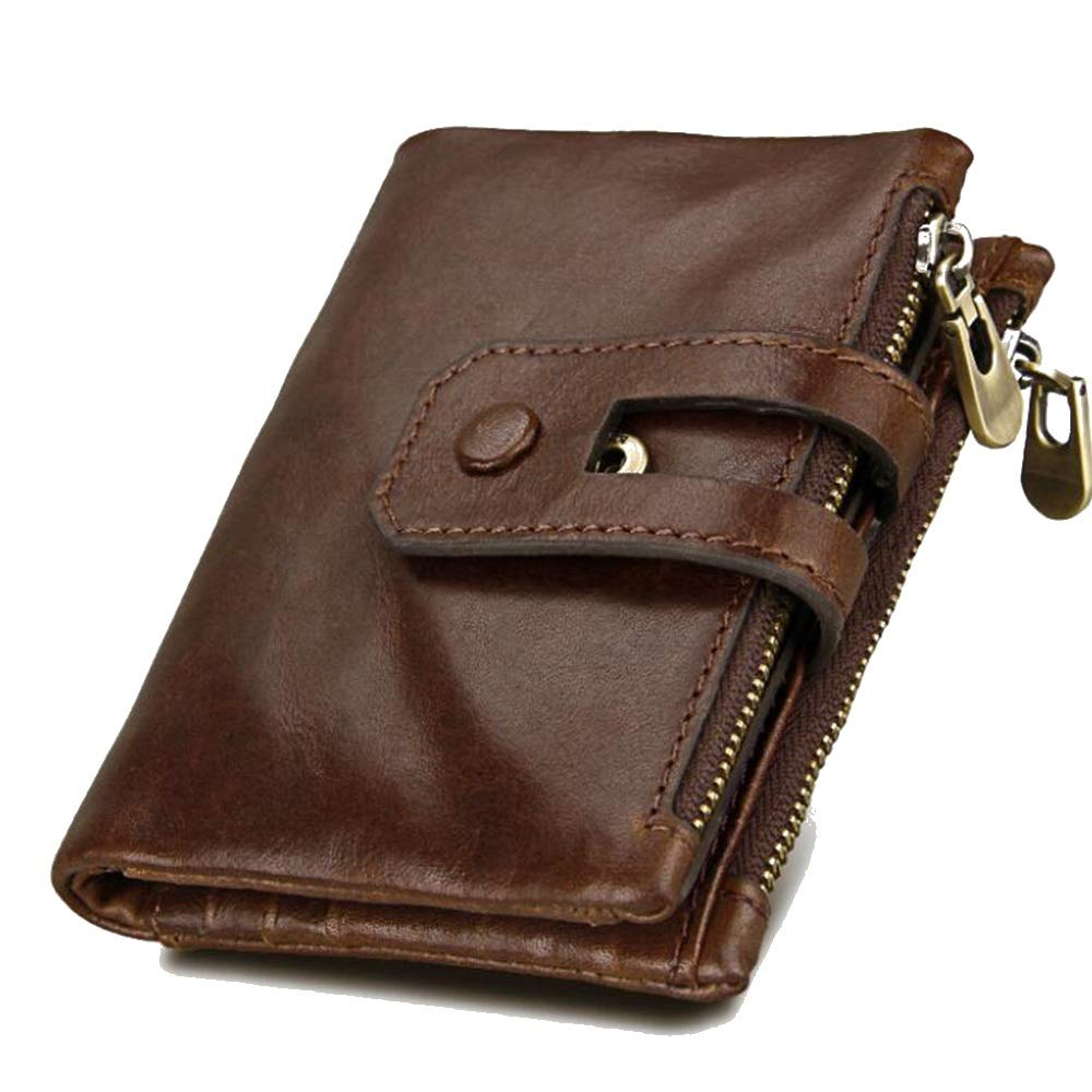 Minimalist Vintage Cowhide Leather Wallet with Zipper Pocket for Men KRPENRIO Mens Wallet Color : Reddish Brown