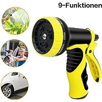 UPGOO Pistola de riego, Boquilla para Manguera Jardín [9 Modos Adjustables][Alta Presión] [Regulable del Caudal de Agua] Para lavado de autos, riego de plantas, ducha de mascotas