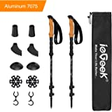 ieGeek Aluminum Trekking Poles - Collapsible Hiking or Walking Sticks for Man Woman - Strong, Lightweight, Flip Locks, Cork Grip, Adjustable Hiking Poles with All Terrain Accessories and Carry Bag