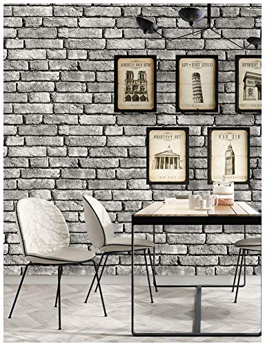 HaokHome 130105 Vintage Faux Brick Textured Wallpaper Roll Gray/Black/White 3D Vinyl Home Kitchen Bathroom Decoration 20.8