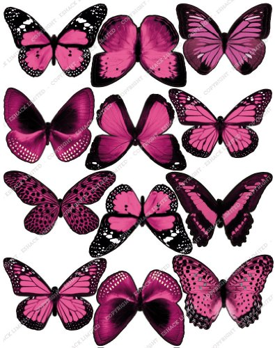 Cakeshop 12 x PRE-CUT Pink Edible Butterfly Cake