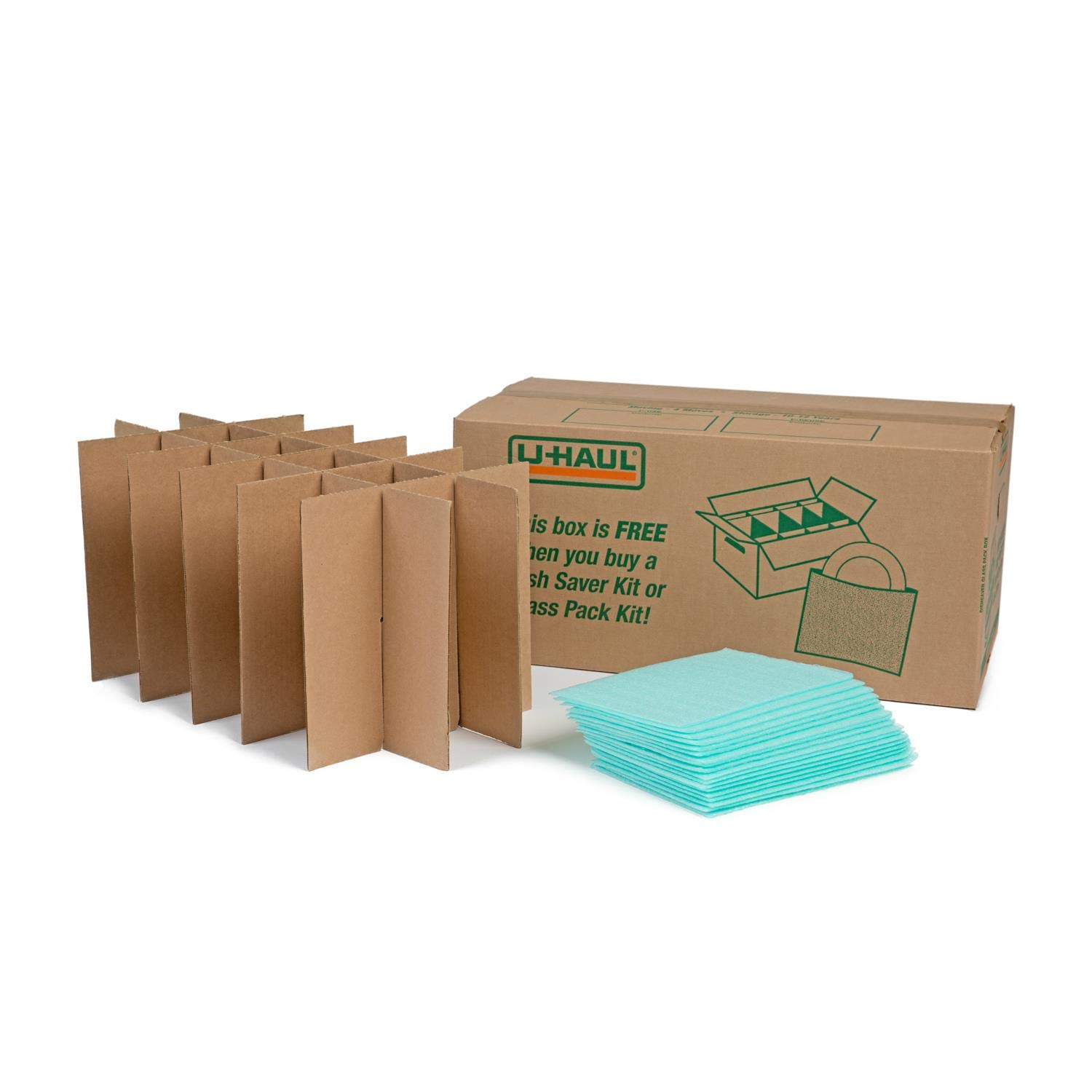 U-Haul Glass Packing Kit for Glasses and Stemware - Includes 1 Box, 1 Cell Divider Unit, and 18 Assorted Foam Pouches (Value Pack of 3) by U-Haul