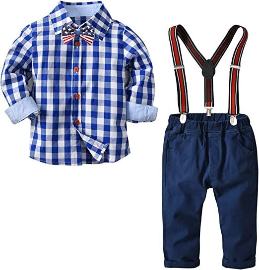 Toddler Baby Boy Clothes Gentleman Shirt Tops+Suspender Pants Shorts Outfits Set