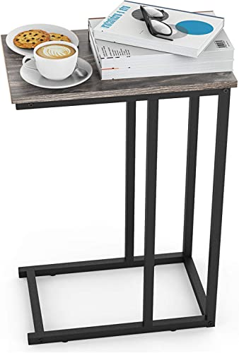 End Table, Durable Side Table C-Shaped Modern Sofa Table Wood Table Coffee Table Snack Table for Sofa, Couch, Bed in Living Room, Bedroom and Other Small Place, Grey