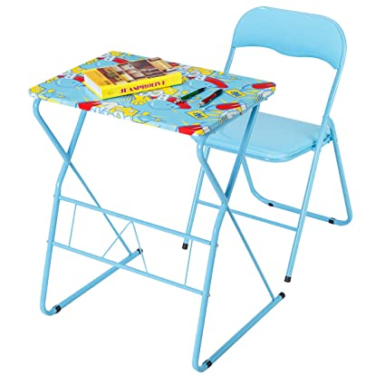 Costzon Kids Table And Chair Set Study Desk And Folding Chair For Boys Girls Activity Table Set With Steel Frame Non Slip Mats And Bright Color
