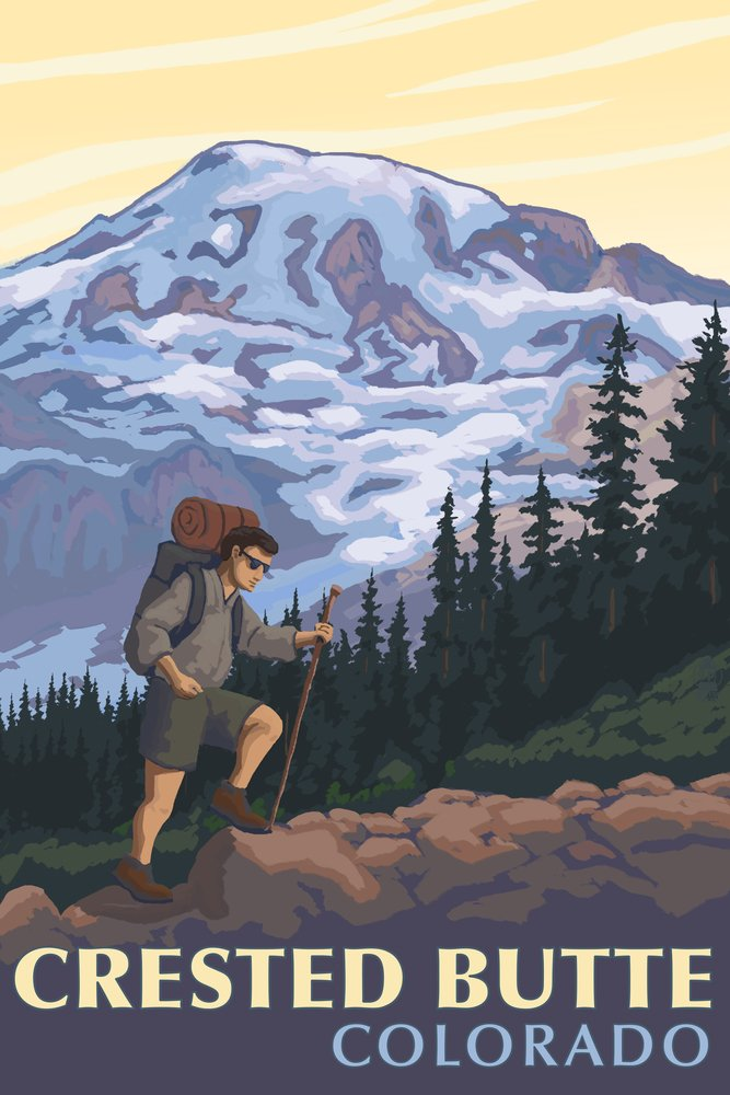 Crested Butte、コロラド – Mountain Hiker 36 x 54 Giclee Print LANT-49387-36x54 36 x 54 Giclee Print  B017EA00DK